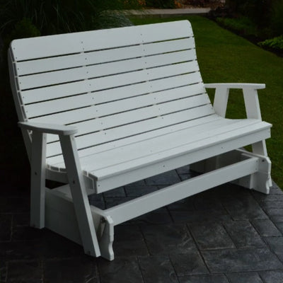 A&L Furniture Amish-Made Poly Winston Glider Bench, White