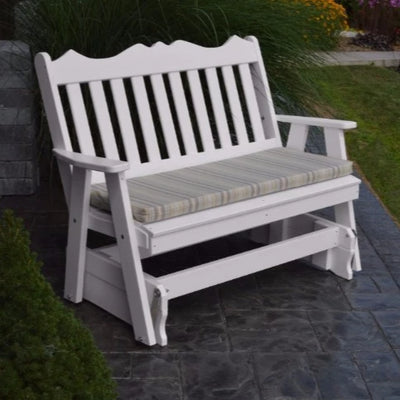 A&L Furniture Amish-Made Poly Royal English Glider Bench, White