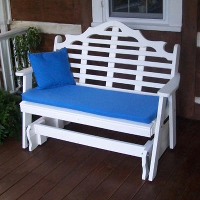 A&L Furniture Amish-Made Poly Marlboro Glider Bench, White