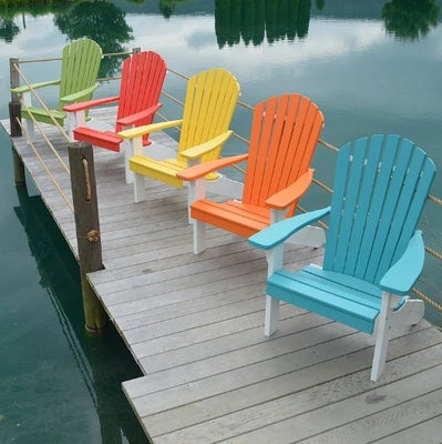 A&L Furniture Amish-Made Two-Tone Poly Adirondack Chairs with White Frame