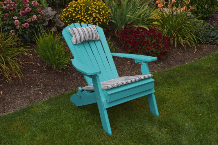 A&L Furniture Co. Amish-Made Folding/Reclining Poly Adirondack Chair, Aruba Blue
