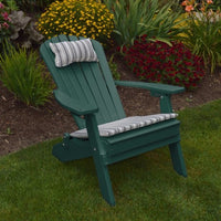 A&L Furniture Co. Amish-Made Folding/Reclining Poly Adirondack Chair, Turf Green