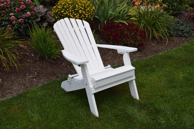 A&L Furniture Co. Amish-Made Folding/Reclining Poly Adirondack Chair, White