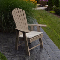 A&L Furniture Amish-Made Poly Upright Adirondack Chair, Weathered Wood