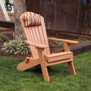 A&L Furniture Folding/Reclining Poly Adirondack Chair with Pullout Ottoman, Cedar