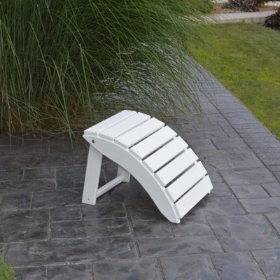 A&L Furniture Folding Poly Ottoman for Adirondack Chairs, White