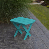 A&L Furniture Co. Amish-Made Folding Poly End Table, Caribbean Blue