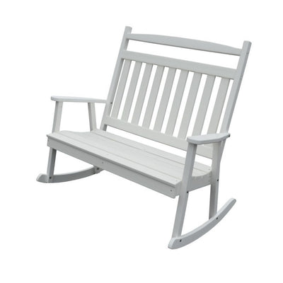 A&L Furniture Amish-Made Poly Double Classic Porch Rocker, White