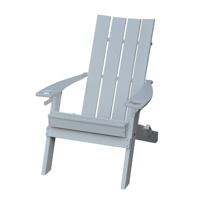 A&L Furniture Co. Folding Poly Hampton Adirondack Chair with Integrated Cupholders, White