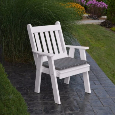 A&L Furniture Amish-Made Poly Traditional English Chair, White