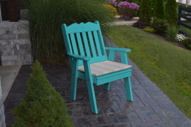 A&L Furniture Amish-Made Poly Royal English Chair, Aruba Blue