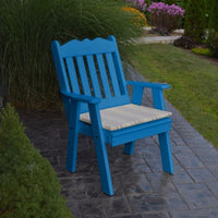A&L Furniture Amish-Made Poly Royal English Chair, Blue