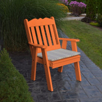 A&L Furniture Amish-Made Poly Royal English Chair, Orange