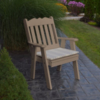 A&L Furniture Amish-Made Poly Royal English Chair, Weathered Wood