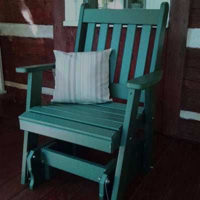 A&L Furniture Amish-Made Poly Traditional English Glider Chair, Turf Green