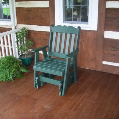 A&L Furniture Amish-Made Poly Royal English Glider Chair, Turf Green