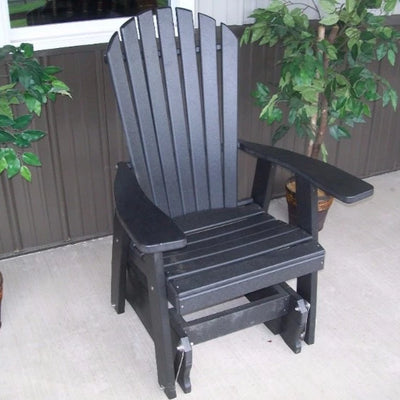 A&L Furniture Amish-Made Poly Adirondack Glider Chair, Black