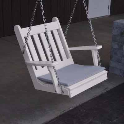 A&L Furniture Amish-Made Poly Traditional English Chair Swing, White
