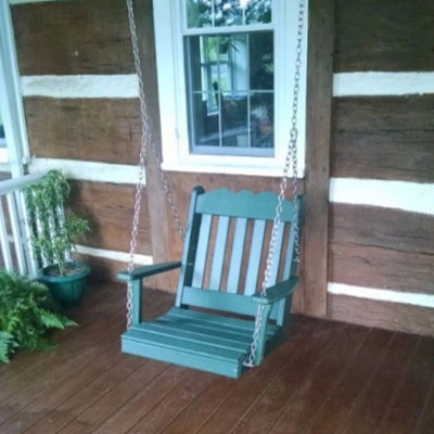 A&L Furniture Amish-Made Poly Royal English Chair Swing, Turf Green