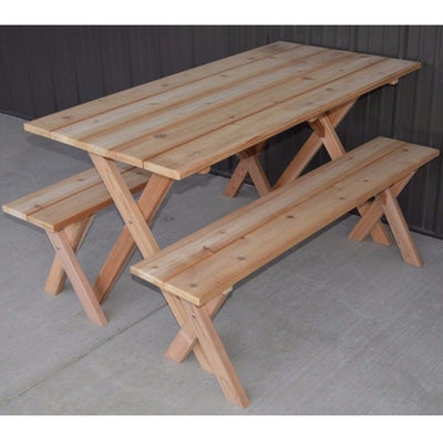 A&L Furniture Company 5' Unfinished Cedar Economy Picnic Table