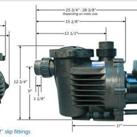 Dimensions of PerformancePro Artesian2 2-Speed Pumps