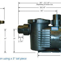 Dimensions of PerformancePro ArtesianPRO Dial-A-Flow Pumps