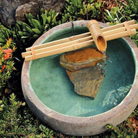 "Bamboo Accents 18"" Three-Arm Spout & Pump Kit installed in unglazed ceramic bowl"