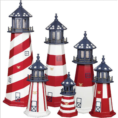 Amish-Made 8-Sided Wooden Patriotic Lighthouses