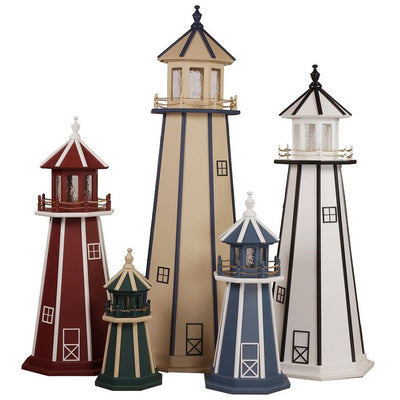 Amish-Made 8-Sided Wooden Painted Lighthouses