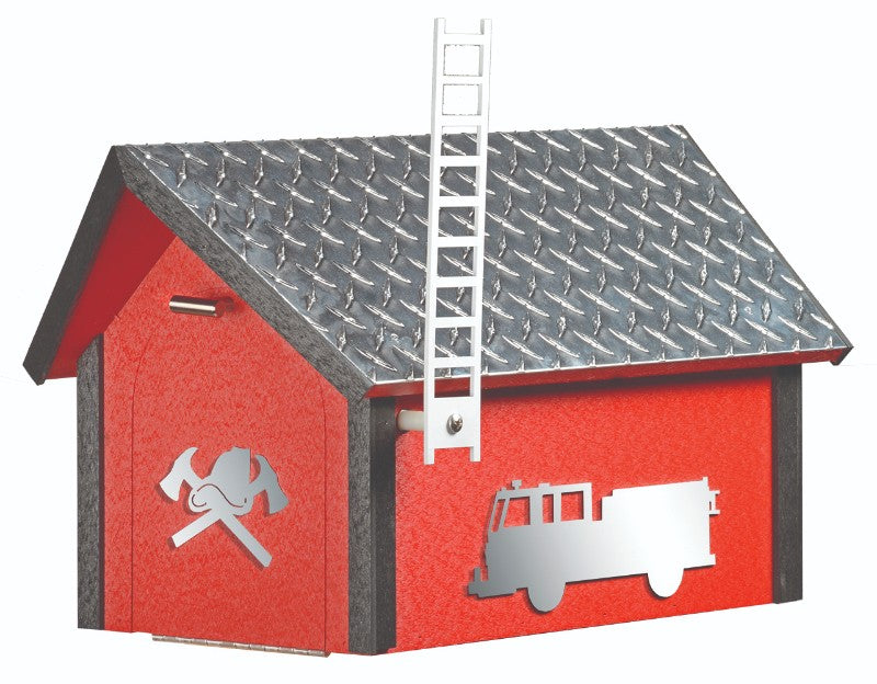 Amish-Made Deluxe Fire Department Mailbox with Aluminum Diamond-Plate Roofs
