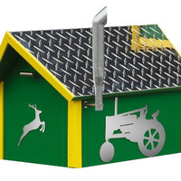 Amish-Made Deluxe John Deere Mailbox with Aluminum Diamond-Plate Roofs