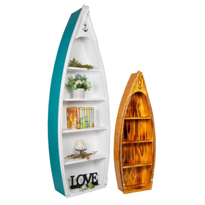 Amish-Made Nautical Rowboat Shaped Bookshelves in two different sizes