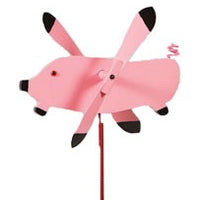 Flying Pig Whirlybird Wind Spinner Yard Decoration