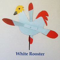 White Rooster Whirlybird Wind Spinner Yard Decoration