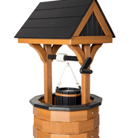 Amish-Made Medium Poly Wishing Well, Mahogany with Black Trim