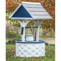 Amish-Made Poly Wishing Well, White with Patriotic Blue Trim
