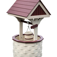 Amish-Made Medium Poly Wishing Well, Ivory with Cherrywood Trim