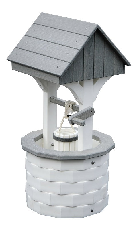 Amish-Made Small Poly Wishing Well, White with Driftwood Trim