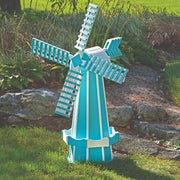 Amish-Made Poly Windmill Lawn Ornament, Aruba Blue with White Trim