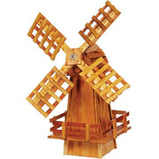 Small Amish-Made Rustic Wooden Windmill Yard Decoration