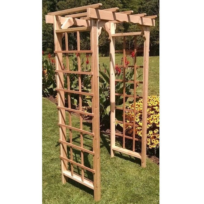 Amish-Made Cedar Morgan Arbors with square lattice and straight cross-bar