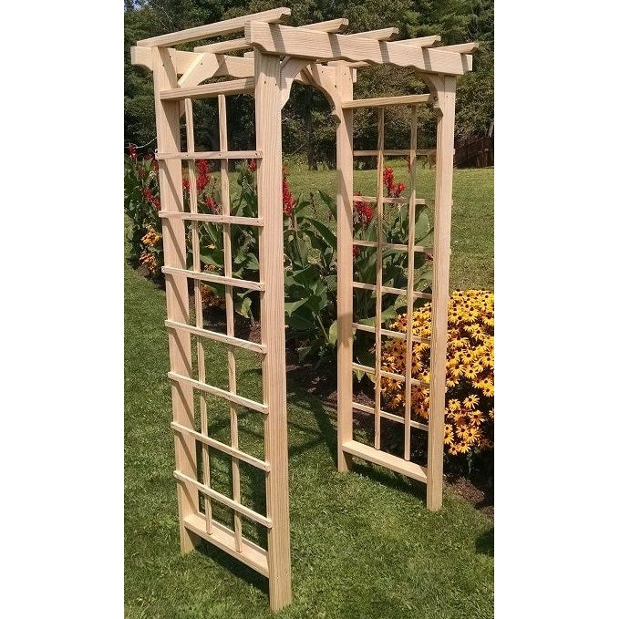 Amish-Made Pine Morgan Arbors with square lattice and straight cross-bar