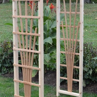 Amish-Made Cedar Concord Arbors with fan lattice and straight cross-bar, unfinished