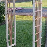 Amish-Made Cedar Cranbrook Arbors with fan lattice and arched cross-bar