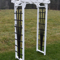 White Amish-Made Hampton Arbors with black fan lattice and straight cross-bar