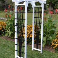 White Amish-Made Hamilton Arbors with black fan lattice and arched cross-bar