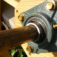 Closeup of bearings for Amish-Made Decorative Rotating Wooden Water Wheels