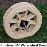 "15"" Amish-Made Decorative Rotating Wooden Water Wheel, Unfinished"