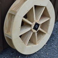 "30"" Amish-Made Decorative Rotating Wooden Water Wheel, Unfinished"