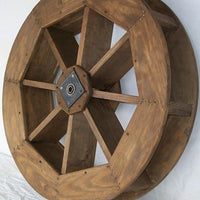 "36"" Amish-Made Decorative Rotating Wooden Water Wheel, Mushroom Stain"